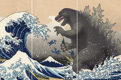 ゴジラ浮世絵シリーズ