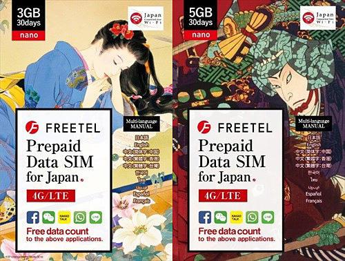 浮世絵パッケージ:3GB/5GB容量のプリペイドSIM