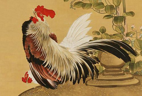北斎の肉筆画新発見 色とりどりの「鶏竹図」