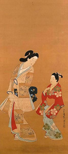 菱川師房『美人遊歩図』