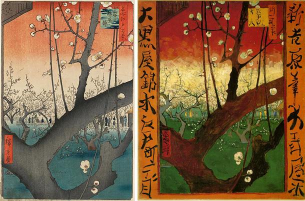 広重「名所江戸百景 亀戸梅屋敷」とゴッホ「花ざかりの梅」