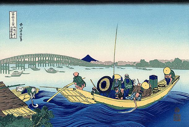 葛飾北斎「富嶽三十六景」御厨川岸より両国橋夕陽見