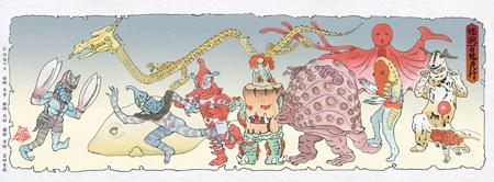 浮世絵木版画ウルトラマンシリーズ 怪獣百鬼夜行