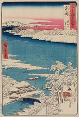 武蔵 隅田川 雪の朝