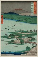 加賀 金沢八勝之内 蓮湖之漁火
