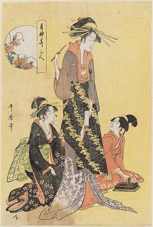 107-青楼華三人 菊