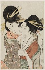 茶碗を持つ二人の遊女