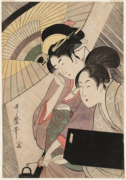 夜の雨に芸者と三味線箱を持つ女