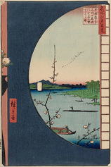 36真崎辺より水神の森内川関屋の里を見る図 (春の部)