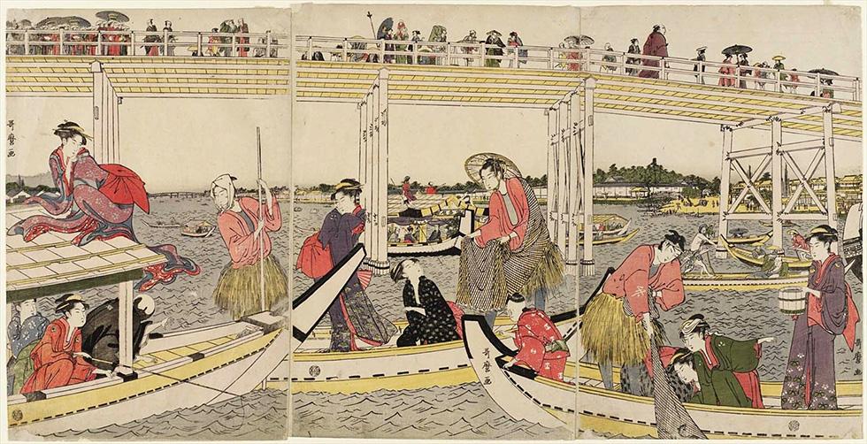 両国橋下の綱船